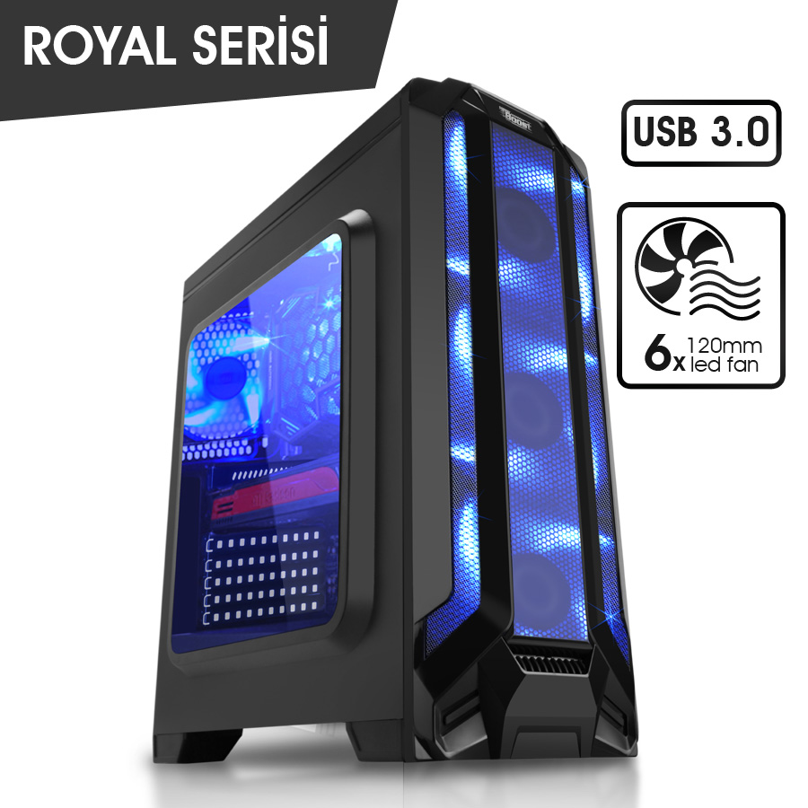 PowerBoost Royal Serisi VK-G1004S USB 3.0 Midtower Kasa (Psu Yok)