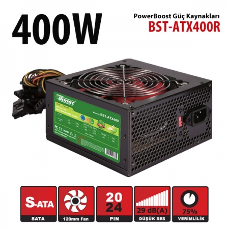 Power Boost 400w Siyah 12cm KIRMIZI fanlı ATX POWER SUPPLY (Retail Box)